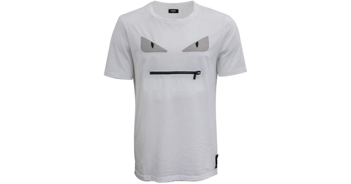 f0e125646ef1 Fendi Monster Eyes Zip T-shirt in White for Men - Lyst