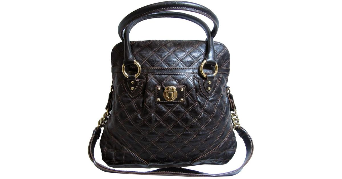 20a5dd7745b6 Lyst - Marc Jacobs Auth Quilted Shoulder Handbag Brown Leather Used Vintage  in Brown