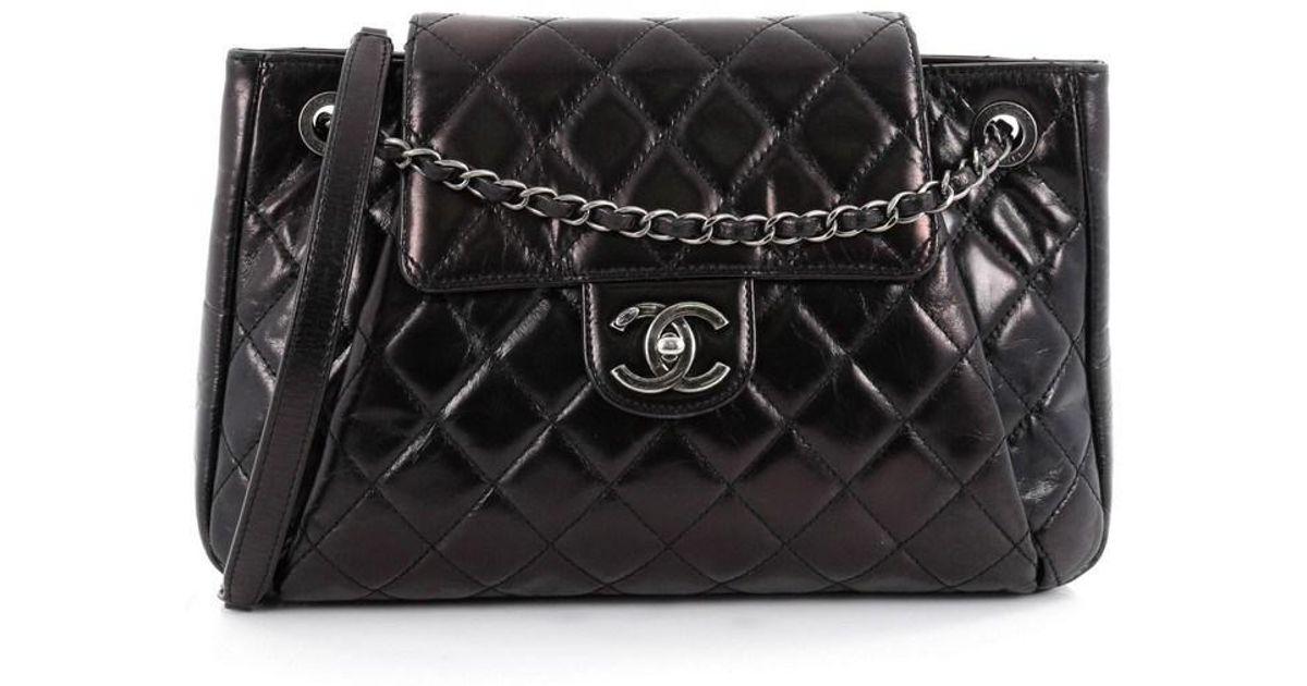 42b826dd9100 Chanel Seoul Accordion Flap Bag Glazed Calfskin Large in Black - Lyst