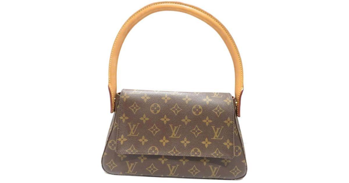 8c8914e7b2306 Lyst - Louis Vuitton Mini Looping Flap Shoulder Bag Monogram Canvas M51147  in Brown