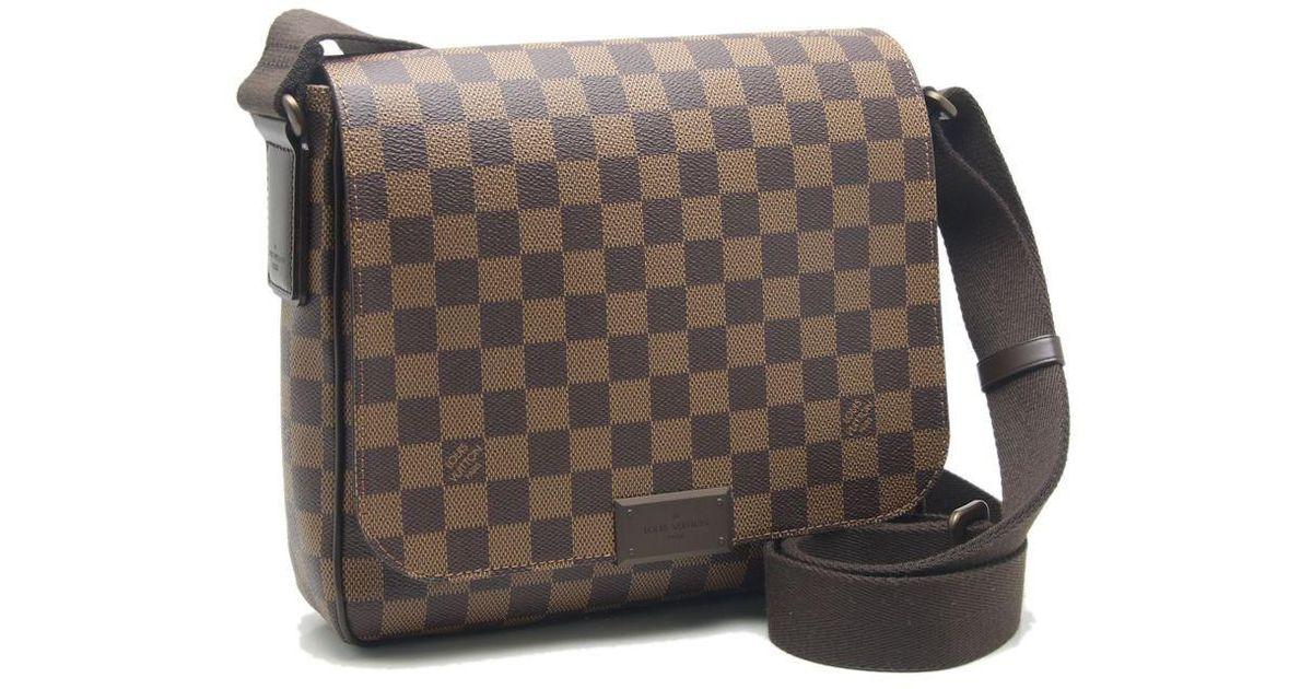 Lyst - Louis Vuitton Damier District Pm Shoulder Bag Crossbody N41213 Ebene   59114 in Brown 1d2fd44fed5d