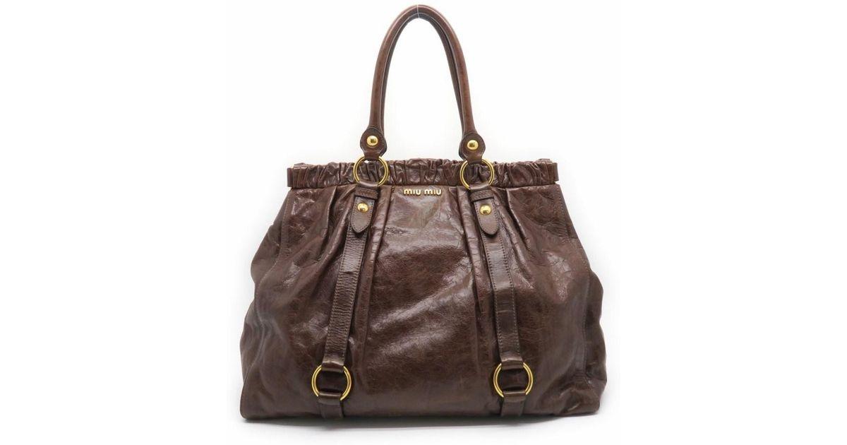 75ee664433 Lyst - Miu Miu Calfskin Leather Shoulder Tote Bag Brown in Brown
