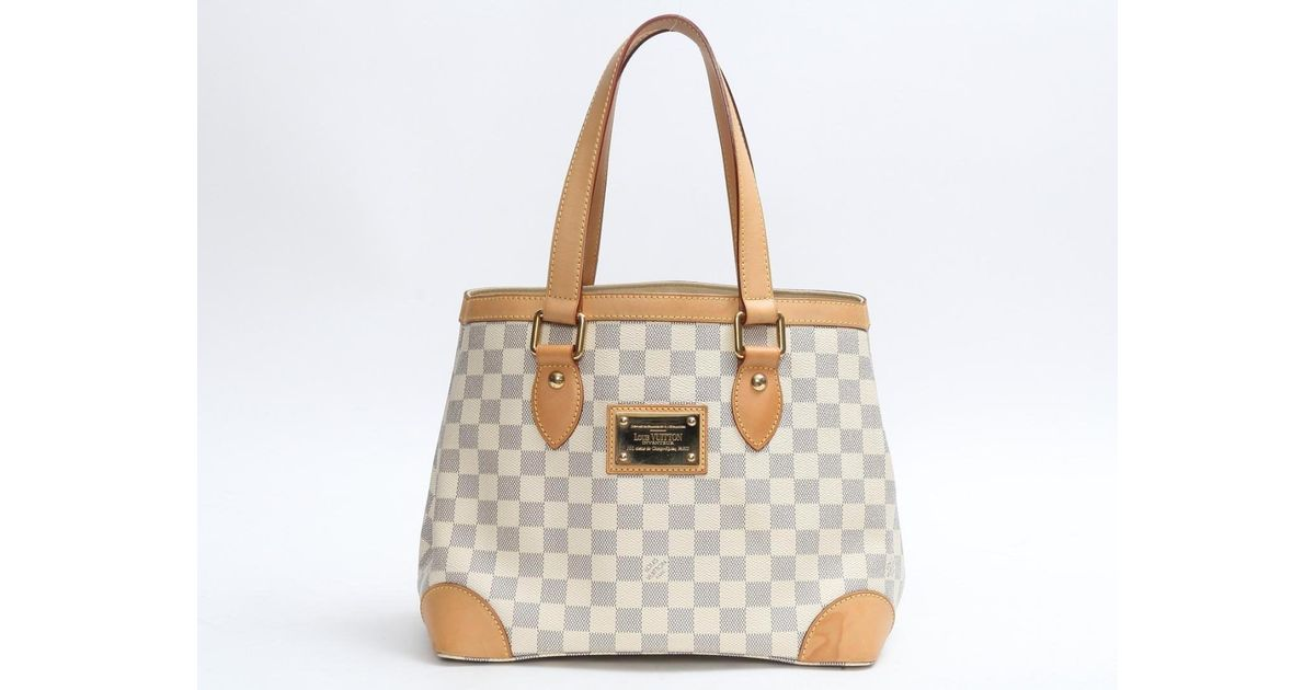 472252b795d8 Lyst - Louis Vuitton Auth Hampstead Pm Tote Bag N51207 Damier Azur Used  Vintage in White