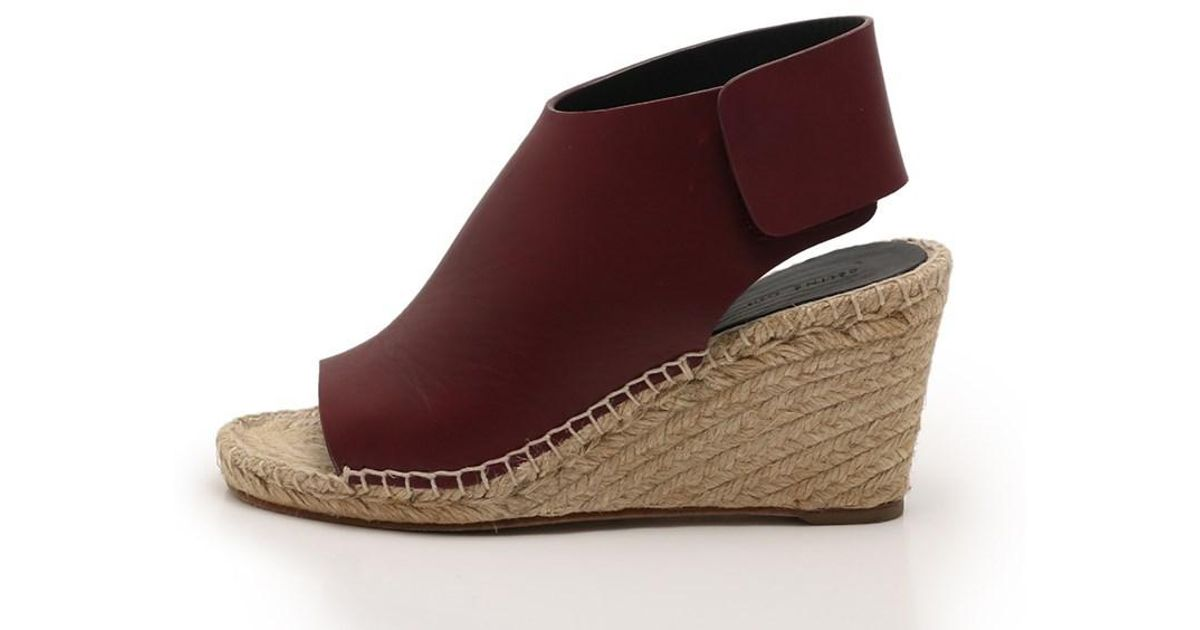 Lyst Céline Wedge Sandals Leather Burgundy In Red