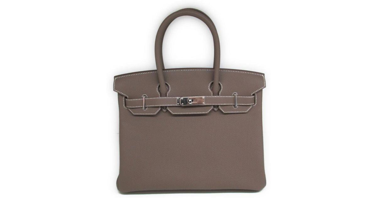 473daed5c2b7 Lyst - Hermès Birkin 30 Handbag Titebag Togo Leather Etoupe Grey in Gray