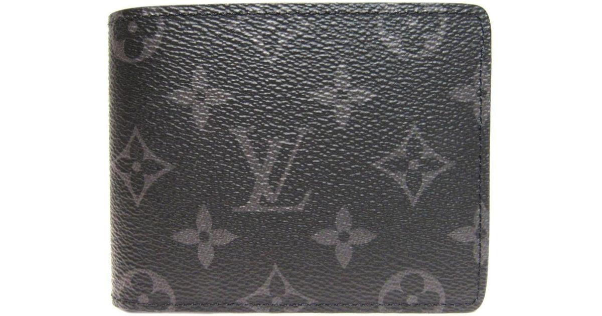 0ef21b45d85e Lyst - Louis Vuitton Portefeuille Multiple Wallet Monogram Eclipse M61695  in Gray for Men