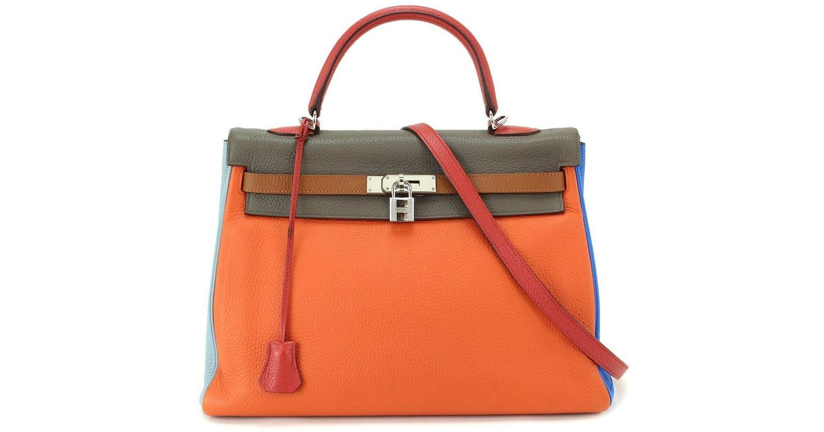 9c3c36a249b5 Lyst - Hermès Kelly 35 Arlequin 2way Hand Bag Traurillon Clemence  90038490.. in Blue