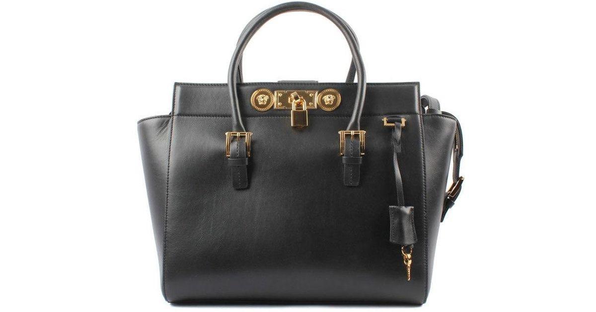 6382b3aa04 Lyst - Versace Large Signature Lock Handbag in Black
