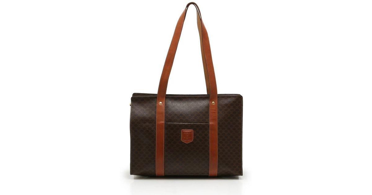 ff582c0b0386 Lyst - Céline Macadam Tote Bag Pvc Leather Dark Brown Tea in Brown