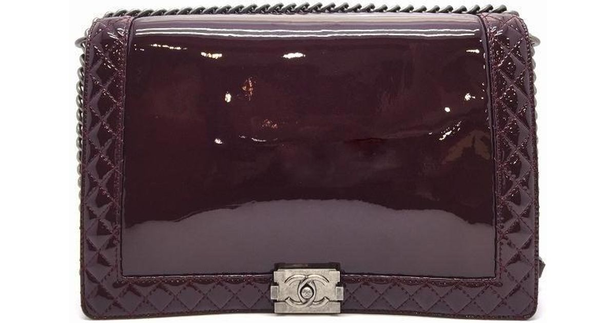 7c226c2afd69 Lyst - Chanel Quilted Patent Leather Boy Reverso Shoulder Bag Wine Red in  Red