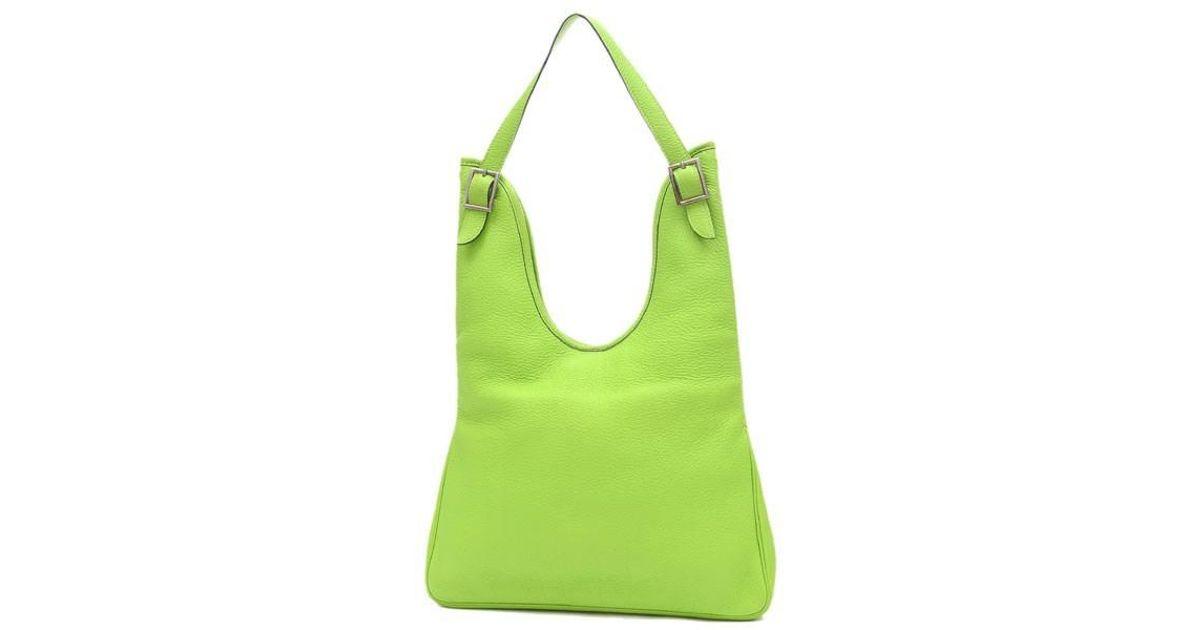 5efef02cf20f Lyst - Hermès Masai Pm Shoulder Bag Taurillon Clemence Apple Green G Marks  in Green