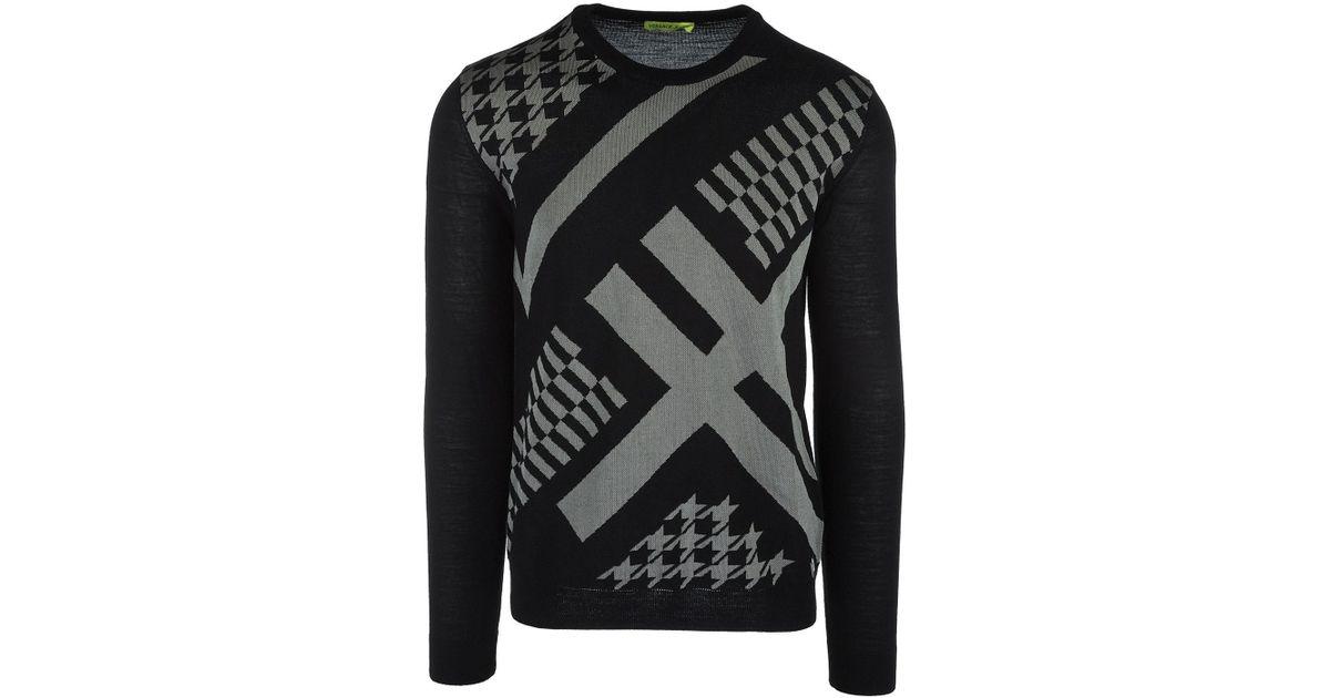 e8443f060a74 Lyst - Versace Jeans Men s Crew Neck Neckline Jumper Sweater Pullover Nuovo  in Black for Men