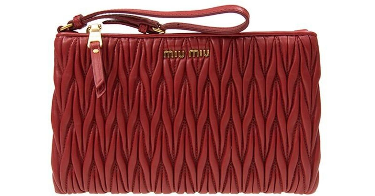 Lyst - Miu Miu Authentic New Handbag 5nh811 N88 F068z Lambskin Red in Red 30e97a52eba3c