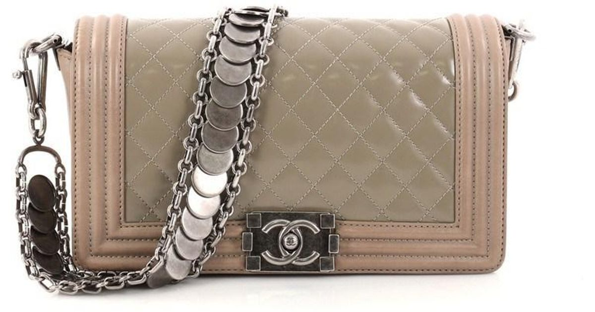 3057c9dccd83da Chanel Medallion Boy Flap Bag Quilted Glazed Calfskin With Leather Old  Medium in Brown - Lyst