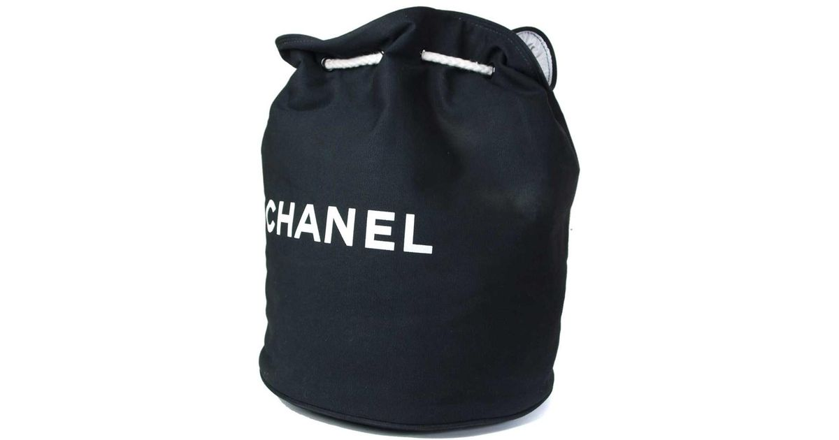 6719df4e28bc Chanel Authentic Black Cotton Canvas Drawstring Backpack Bag in Black - Lyst