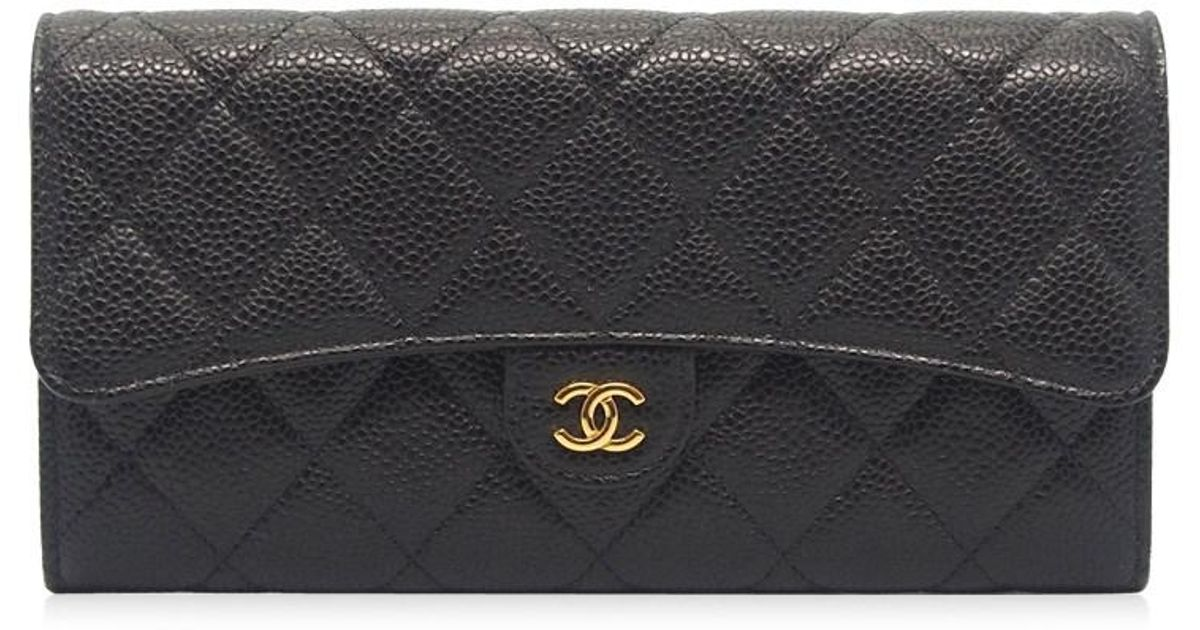 6ffc769b770eb6 Chanel Authentic L Flap Long Wallet Black Quilted Caviar Leather 07000025ck  in Black - Lyst