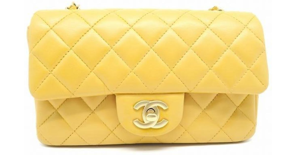 049fd910247a Chanel Calfskin Leather Classic Flap Small Shoulder Bag Apricot 7507 in  Yellow - Lyst