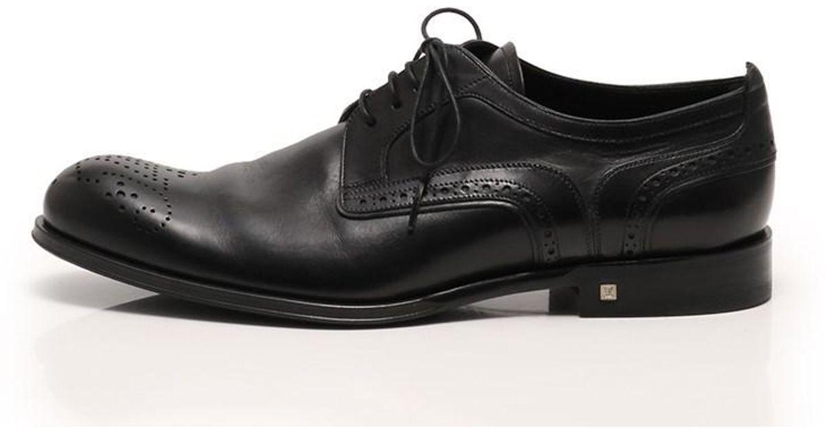 4e3a9b5f335e Lyst - Louis Vuitton Derby Dress Shoes Medallion Lace-up Leather Black in  Black for Men