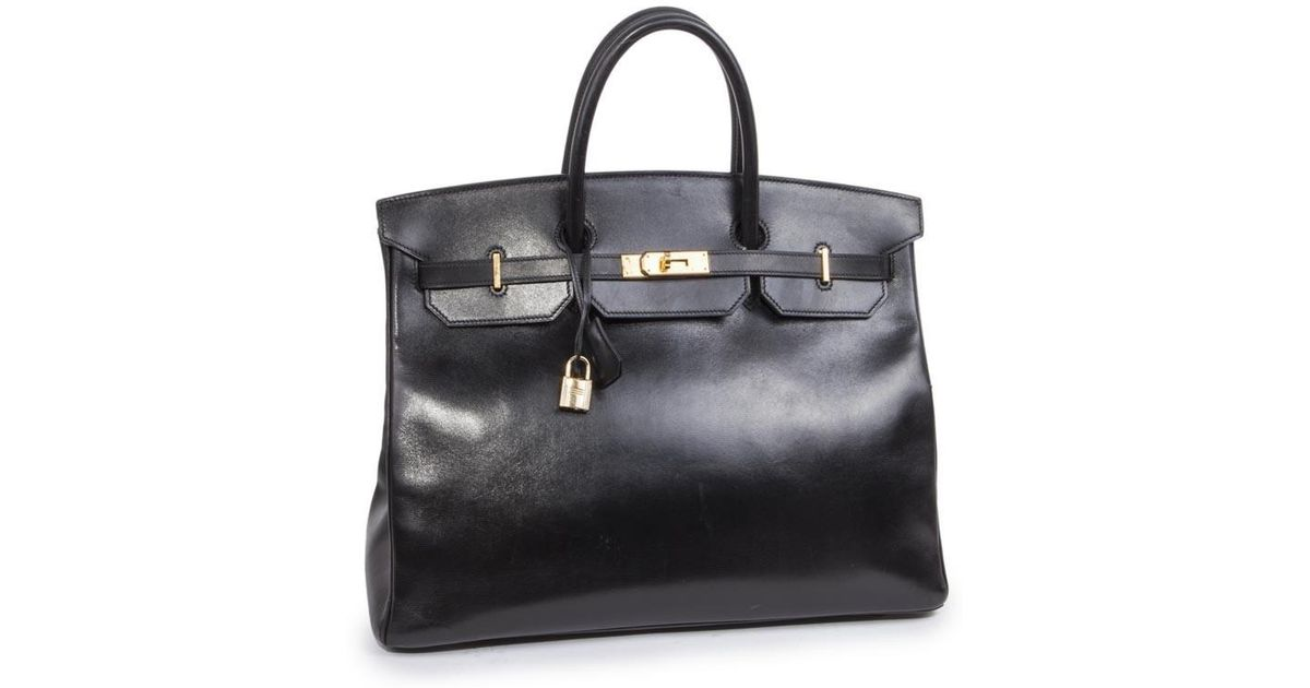 32a4c7c3942 Lyst - Hermès Birkin 40 In Black Box Leather in Black