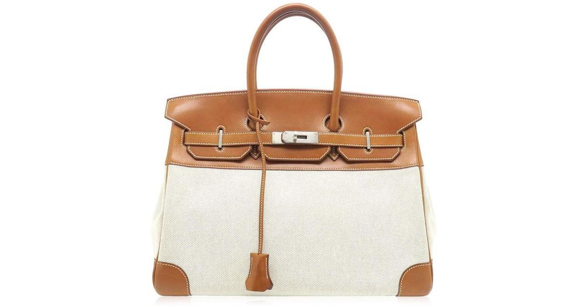 af7f62d271cd Lyst - Hermès Box Leather Toile Linen Birkin 35 Shw Tote Bag Gold  Brown  4310 in Brown