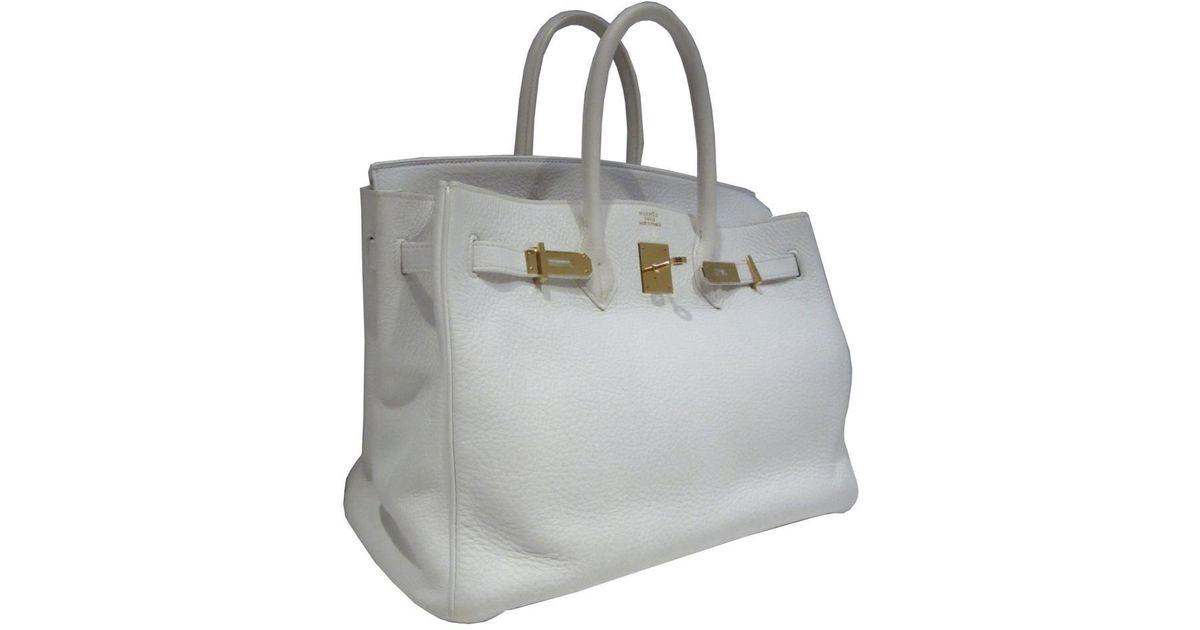 518a6eba11 Lyst - Hermès Birkin 35 Handbag Totebag Togo Leather White Ghw in White