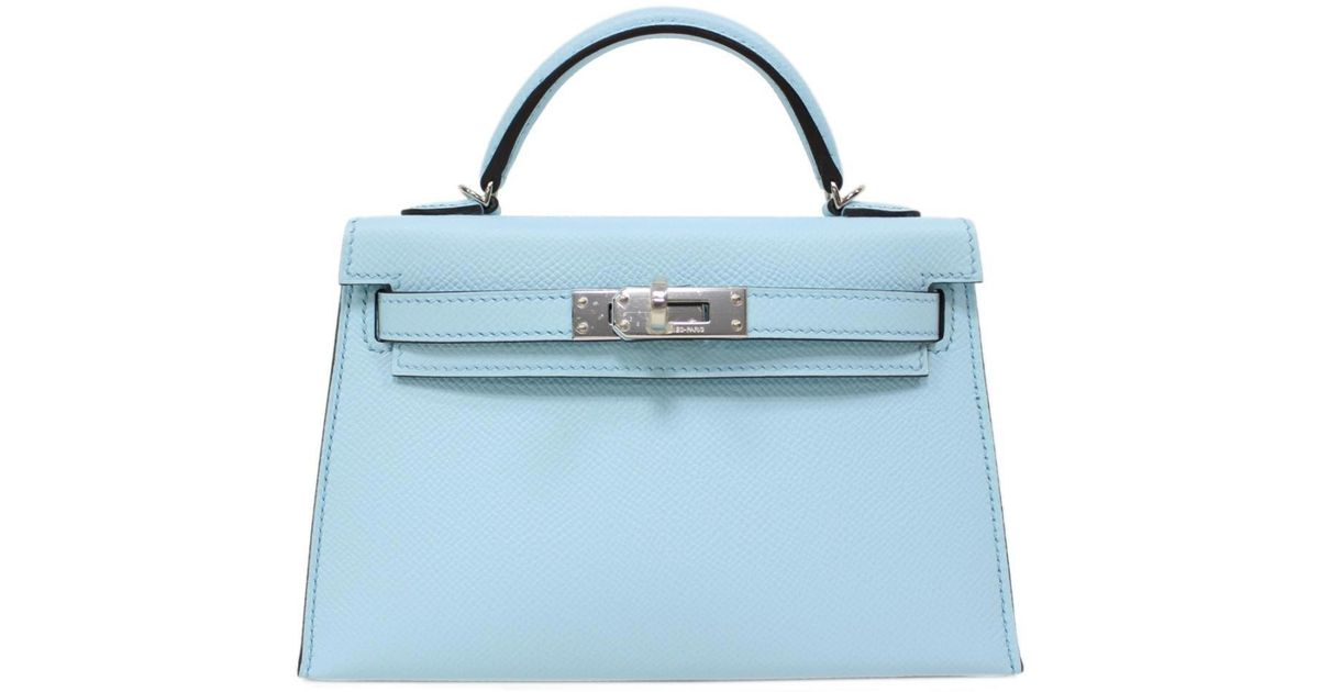 d1e992391904 Lyst - Hermès Mini Kelly 20 Handbag Blue Zephyr (metal Fittings  Silver)  Epson Leather in Blue