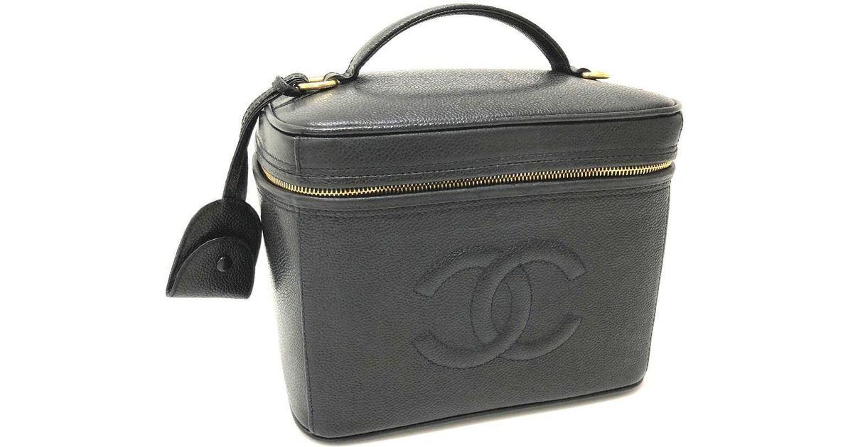 17c8f0da5bdffd Chanel Cc 2 Way Bag Vanity Bag Shoulder Bag Hand Bag Black Caviar Leather  A06238 in Black - Lyst