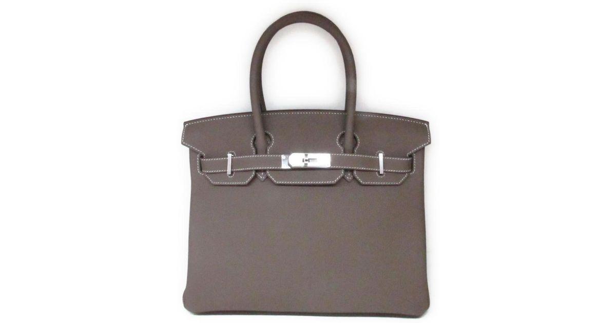 e4f4dc1720ec ... order lyst hermès birkin 30 handbag totebag togo leather etoupe gray  shw in gray 796c1 f8f8c