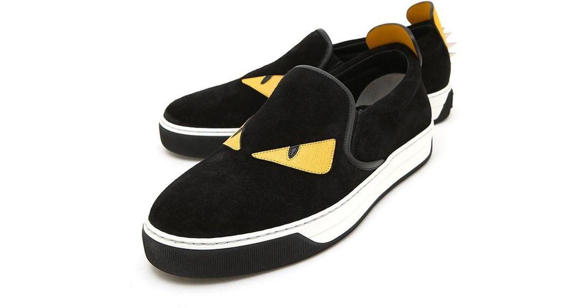 d0cad88b Fendi - Black Bag Bugs Slip On Sneakers for Men - Lyst