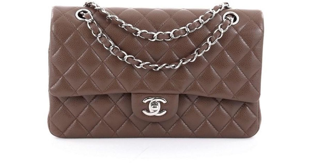 a22739b560b1 Lyst - Chanel Classic Double Flap Bag Quilted Caviar Medium in Brown