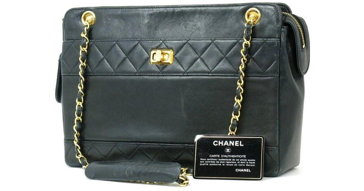 3a8a2ca3069 Lyst - Chanel Auth Chian Shoulder Bag Black Lambskin Paper in Black