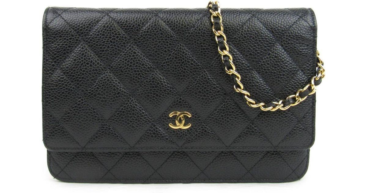9a77a99a00a9ab Chanel Caviar Skin Leather Chain Wallet Shoulder Crossbody Bag Black A33814  in Black - Lyst