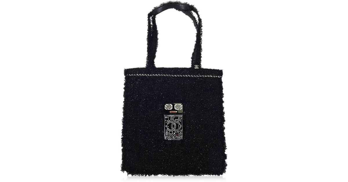82a3b805a924 Lyst chanel tweed robot large shopping tote bag black green tweed resin  strass a brand new