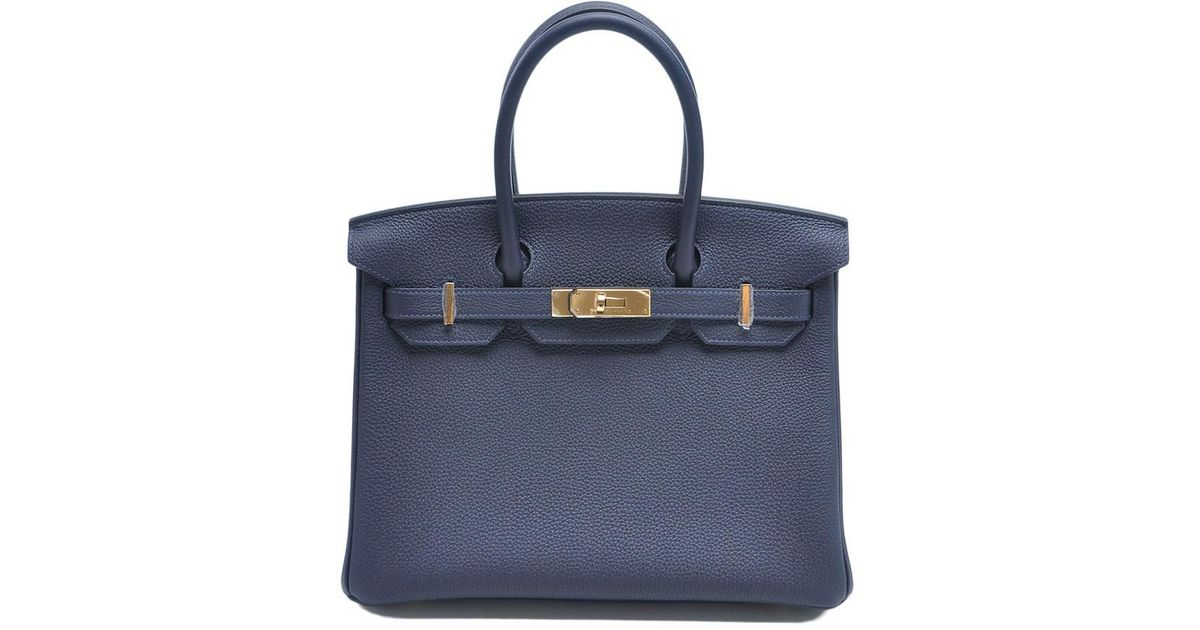 00b6b32cee4a Lyst - Hermès Birkin 30 Veau Togo Bleu Nuit in Blue