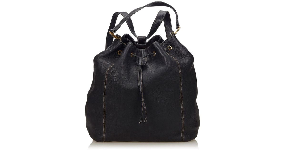 Lyst - Fendi 2 Way Leather Drawstring Backpack in Black 6cdf62ba60