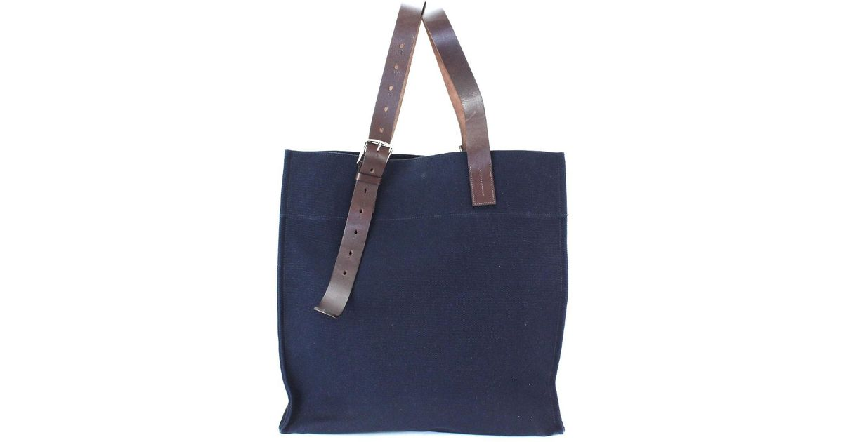 acc73f7adce6 ... discount code for lyst hermès etriviere shopping tote bag canvas leather  navy 062304ck 90043153.