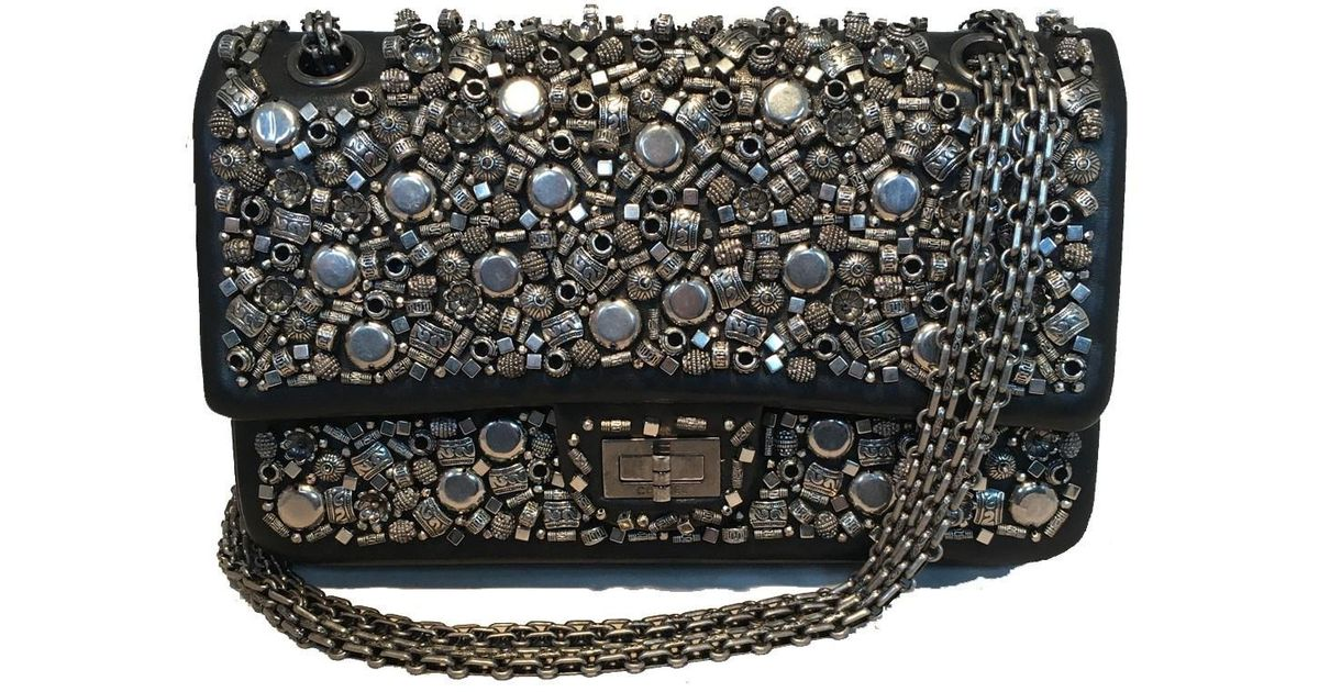 02c281558f76 Lyst - Chanel Rare Black Leather Studded Classic Flap 2.55 Shoulder Bag in  Black
