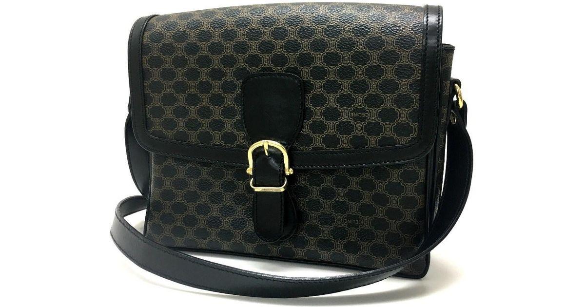 67c04c160132 Lyst - Céline Macadam Men s Women s Crossbody Shoulder Bag Brown black Pvc  X Leather in Black