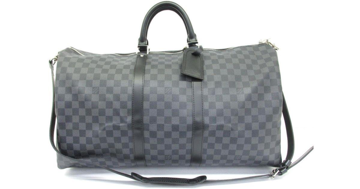9079740bd353 Lyst - Louis Vuitton Keepall Bandouliere 55 Boston Bag Damier Graphite  N41413 in Gray