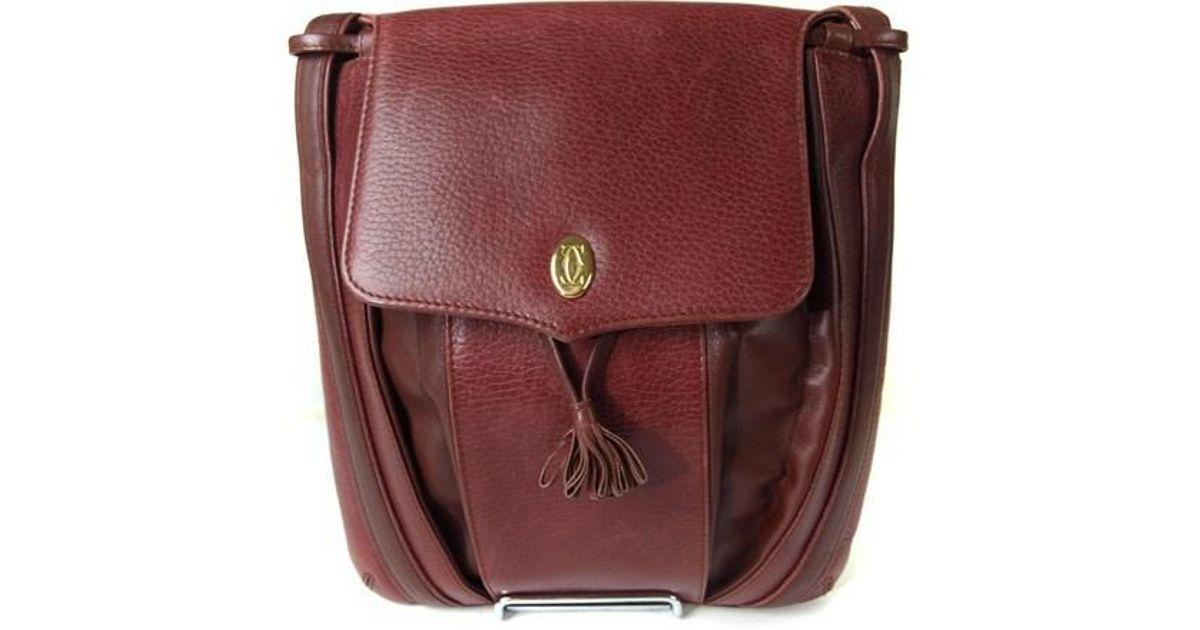 Lyst - Cartier Must De Vintage Bordeaux Cross-body Shoulder Bag in Red d5d5154d66