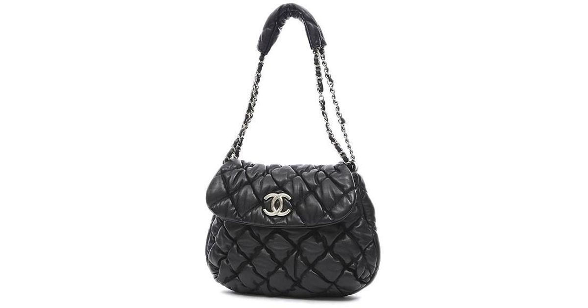 49caa4d9e22f Lyst - Chanel Bubble Quilt Chainshoulder Bag Black Silverhardware in Black