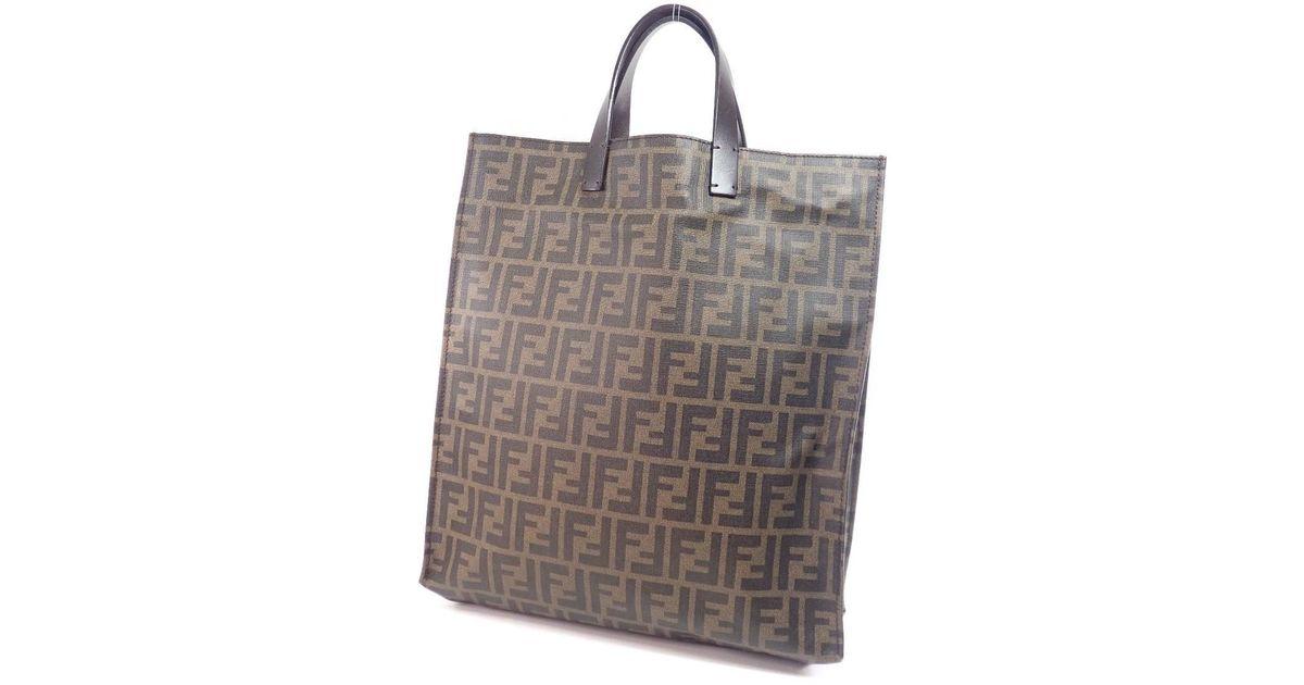 c684ba0053d Lyst - Fendi Pvc Tote Bag Zucca Pattern in Brown