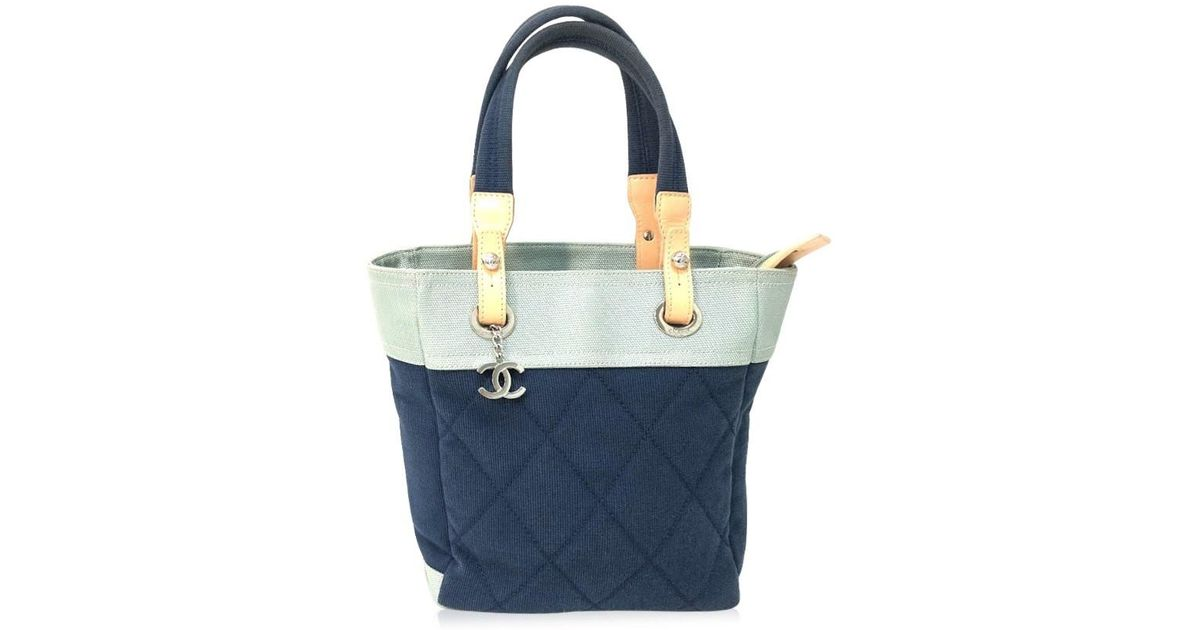 30332ca4c642 Chanel Paris Biarritz Tote Pm Tote Bag Shoulder Bag Navy/light Blue Canvas  / Leather in Blue - Lyst