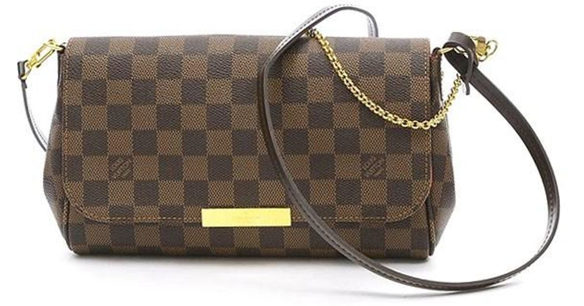 b5a72437217a Lyst - Louis Vuitton Damier Favorit Pm Shoulder Bag N 41276 Maid In Usa in  Brown