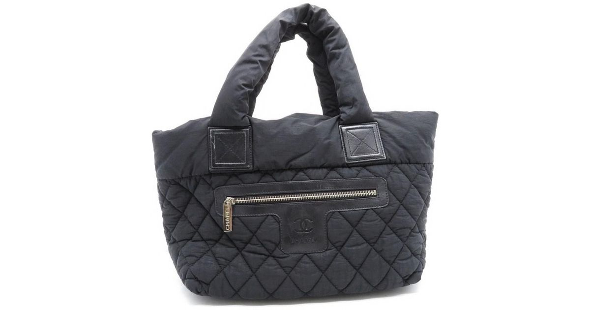 53983ab1d52f Lyst - Chanel Quilted Nylon Coco Cocoon Tote Bag Black 7955 in Black