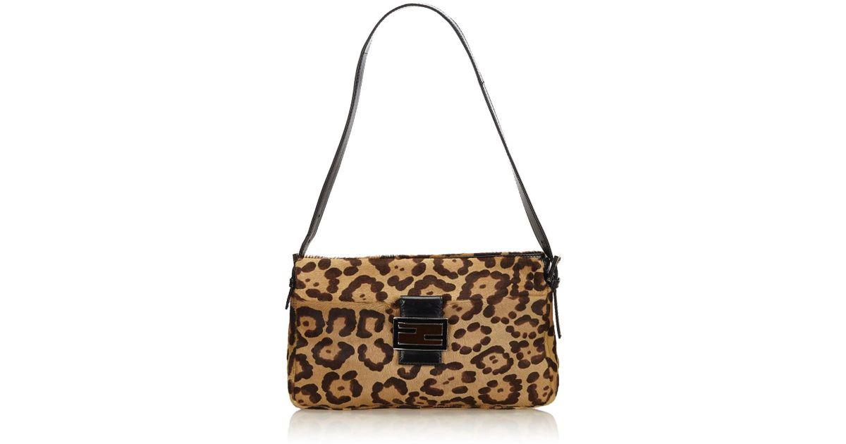 a3fa6e5e092 Lyst - Fendi Leopard Print Pony Hair Mamma Baguette in Natural