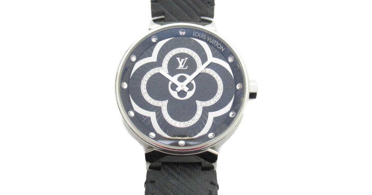 3ffa374bf8 Louis Vuitton Black Auth Tambour Moon Divine 28 Watch Noir Epi Stainless  Steel Qa020 for men