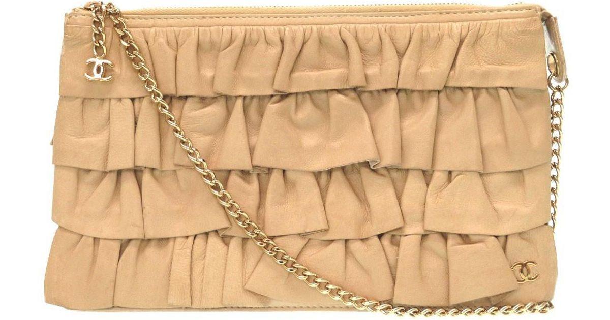 91b6b991eb24 Lyst - Chanel Frill Clutch Bagclutch Bag Beige Leather 0174 in Natural