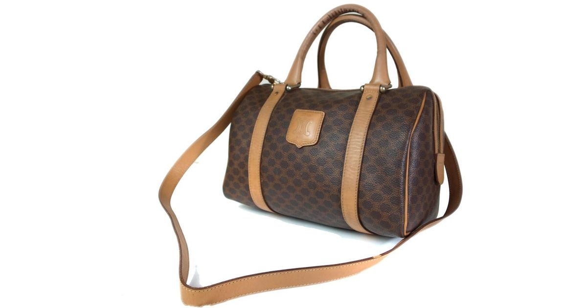 201dba8cc988 Lyst - Céline Authentic Macadam Pvc Canvas Leather Browns Hand Bag ...