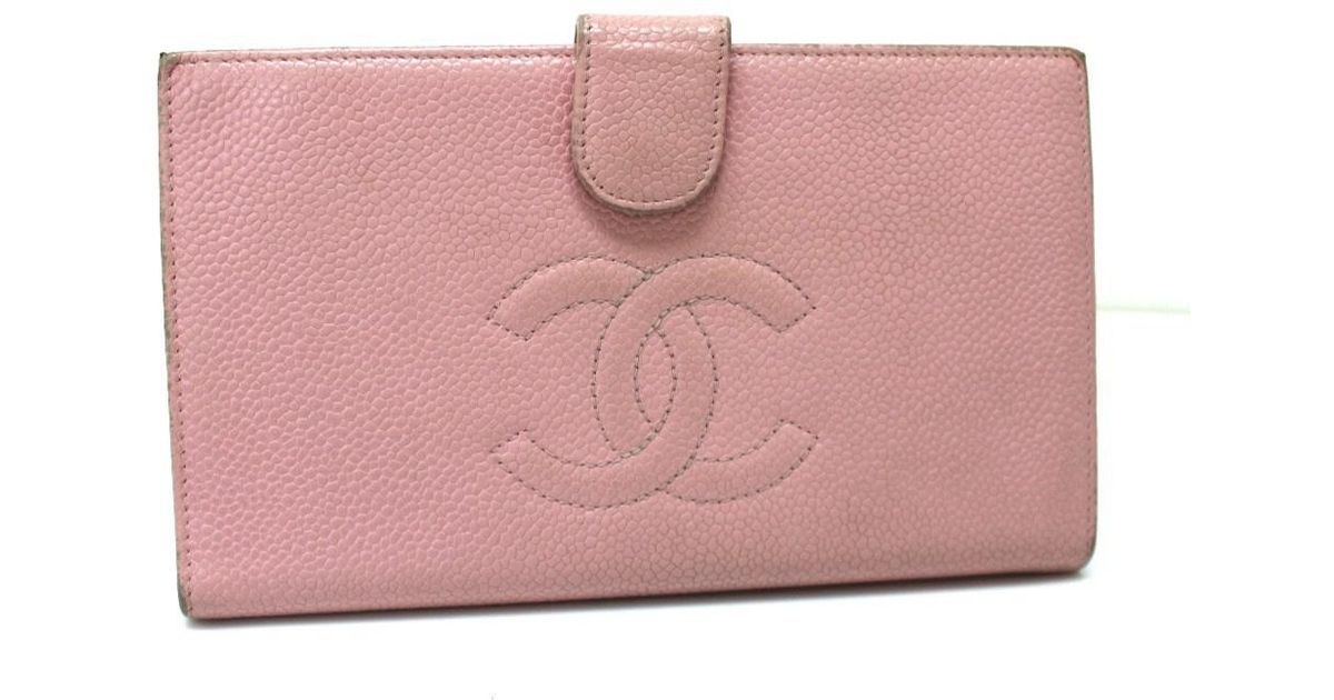 a49755bb9b5ee8 Chanel Caviar Leather Long Bifold Wallet Pink A13498 in Pink - Lyst